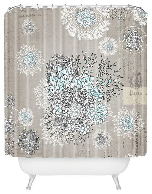 Iveta Abolina French Blue Shower Curtain Contemporary Shower - Beige and blue shower curtain