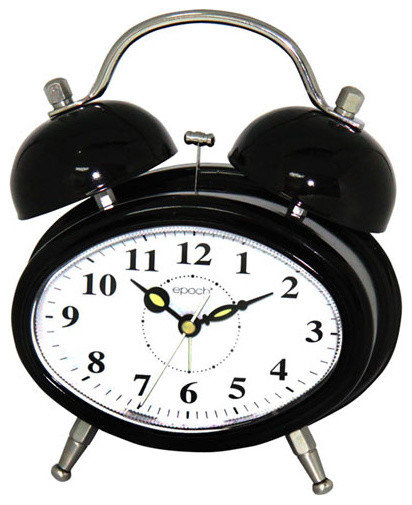 Black Oval Dual Double Bell/Electronic Alarm Clock