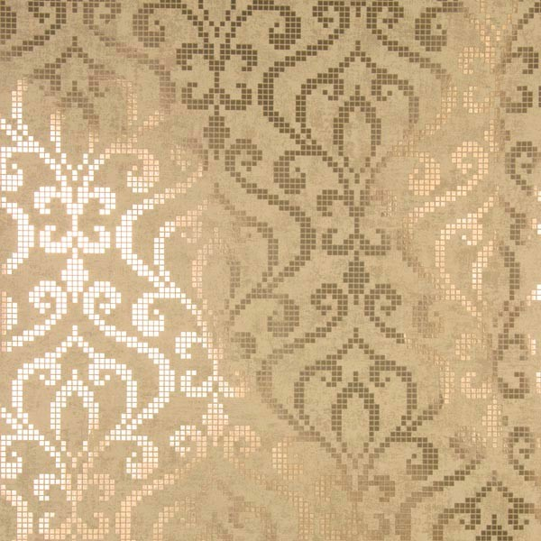 Venus Brass Foil Mini Damask Wallpaper Contemporary