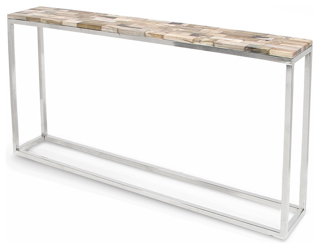 Lakota Industrial Loft Petrified Wood Cream Slim Console Table Industrial  Console Tables