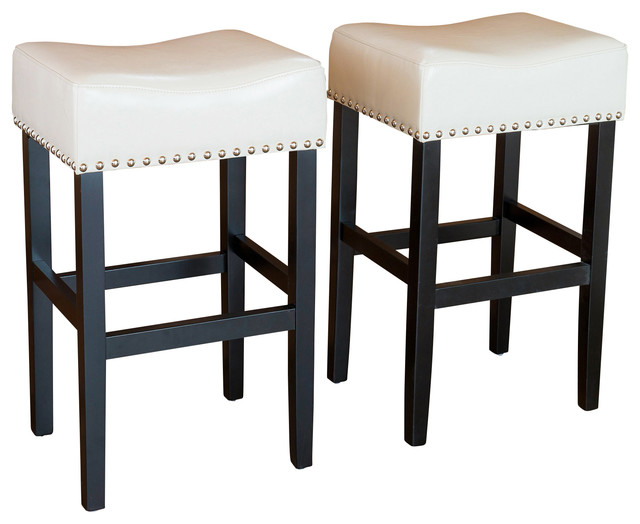 Chantal Leather Stools Set Of 2 Ivory Counter Height Transitional Bar