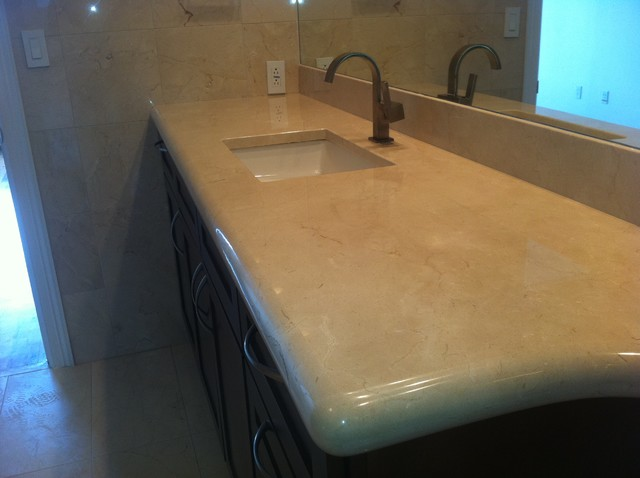 Bathroom Countertops Houston crema marfil marble countertop - mediterranean - bathroom