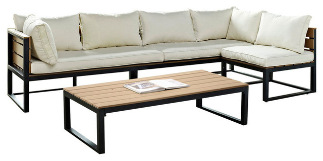 4 Piece All Weather Outdoor Conversation Set With Cushions, Natural  Contemporary Outdoor