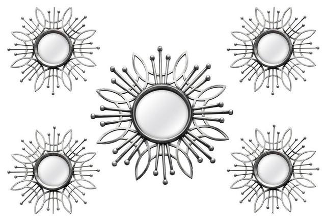 5-Piece Champagne Burst Wall Mirror Set, Silver