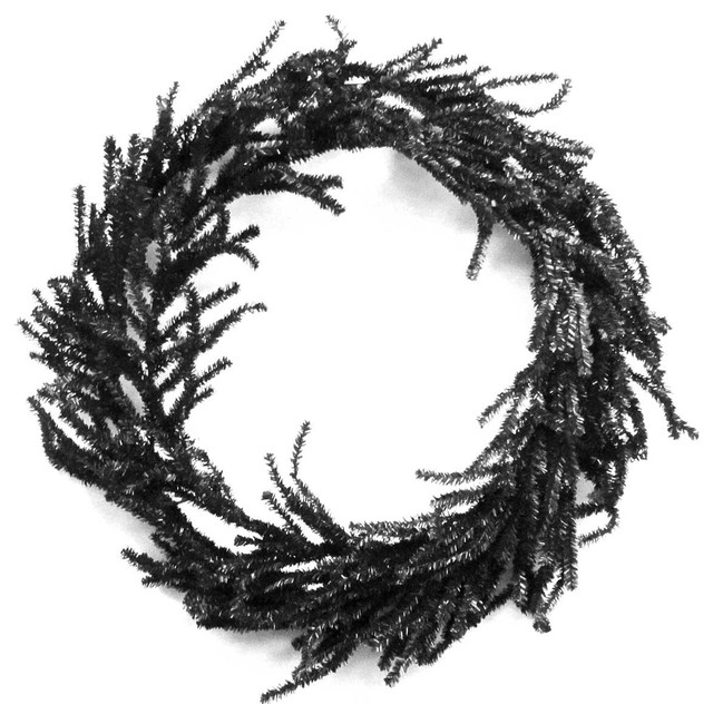 Halloween Black Round Artificial Wreath Metal/plastic Hc120345.