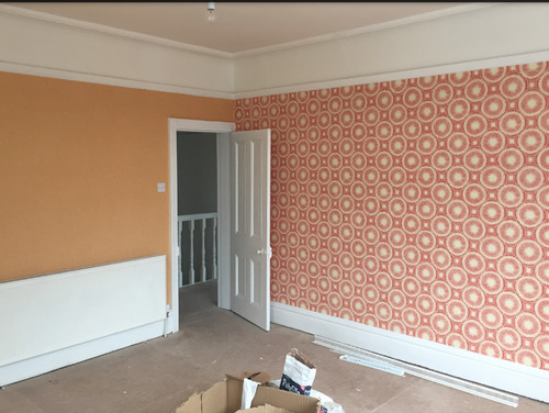 Two Orange Orla Kiely Wallpapers Advice On Which Curtains To Hang