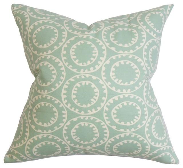 Blue Medallion Throw Pillows : Cape Cod Medallion Throw Pillow, Blue, 18