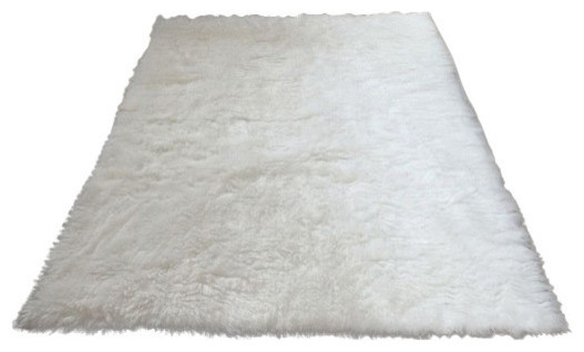 Super Plush White Faux Fur Area Rug 4 10x6 8 Large