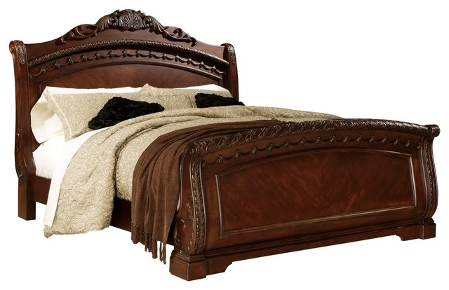 Ashley North Shore Eastern King Sleigh Bed, Dark Brown.