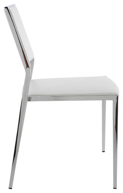 Aaron Stackable Dining Chair Set Of 2 White Modern Chairs