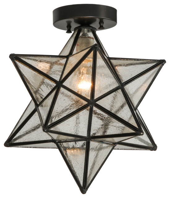 12 Moravian Star Clear Seedy Flushmount