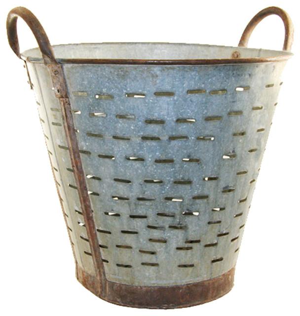 Vintage Olive Bucket, Harvest Bucket