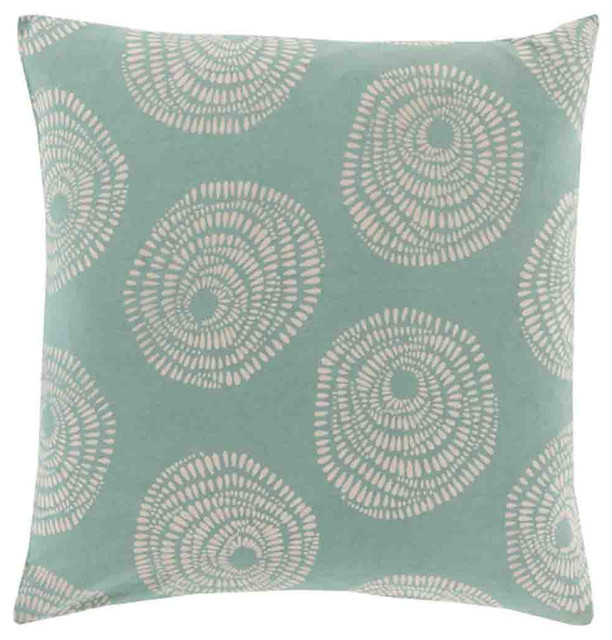 "Sylloda Pillow, Pillow Shell Only, Teal, 18""x18""."