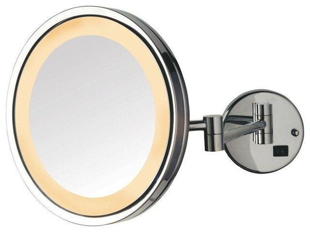Led Lighted Wall Mount Mirror, Nickel Finish.