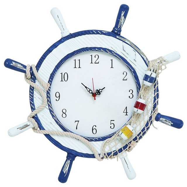 Nautical Maritime Style Anchor Ship Wheel White Blue Wall Clock Decor Beach Desk And Mantel Clocks By Gwg Outlet