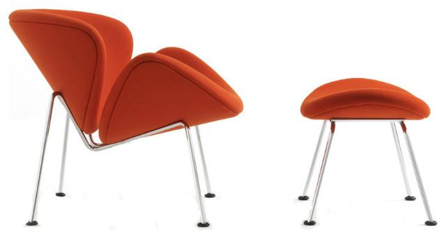 Beautiful Pierre Paulin Artifort Orange Slice Chair And Ottoman, Tonus Orange