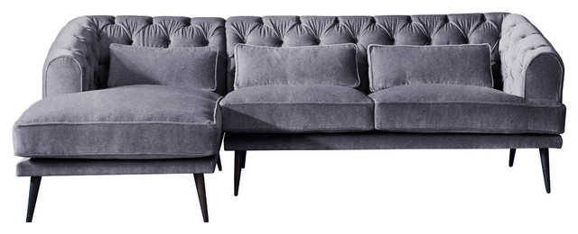 Earl Grey Chaise Sofa, Steel, 3 Seater, Left Hand Facing