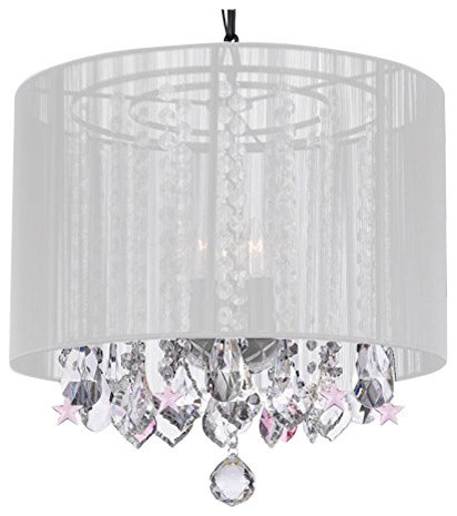 Crystal Chandelier Chandeliers With Large White Shade And Pink Stars Contemporary By Gallery