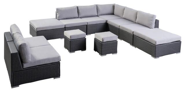 GDF Studio Tammy Rosa Outdoor 7 Seat Wicker Sofa Sectional Set, Gray/Silver