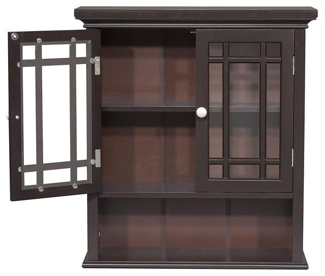 Dark Espresso 2 Door Bathroom Wall Cabinet With Open Shelf Craftsman Bathroom Cabinets By Hilton Furnitures