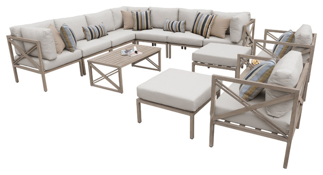 Boulevard 13-Piece Outdoor Wicker Patio Furniture Set.