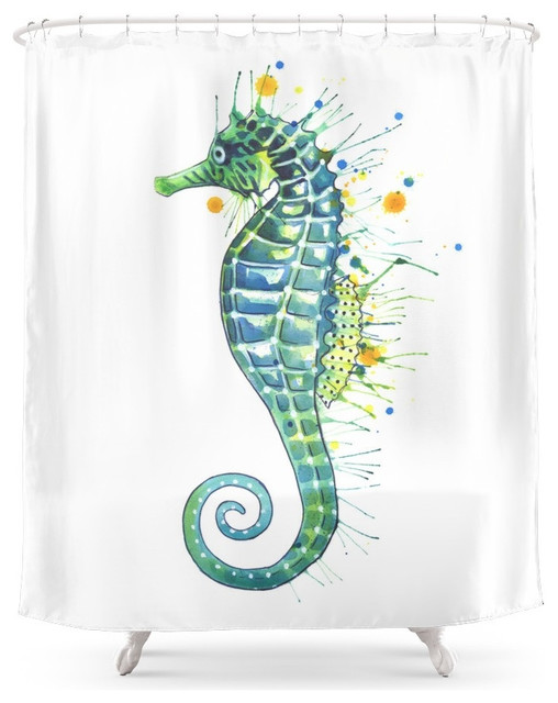 society6 seahorse green shower curtain beach style. Black Bedroom Furniture Sets. Home Design Ideas