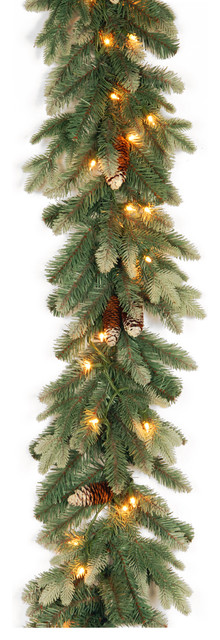 Copenhagen Spruce Garland With Clear Lights, 9 Ft..