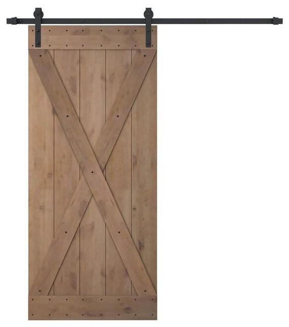 Knotty Alder Natural Primed Wood Barn Door With Antique Bronze Sliding Hardware Rustic Interior Doors By 4easy Inc