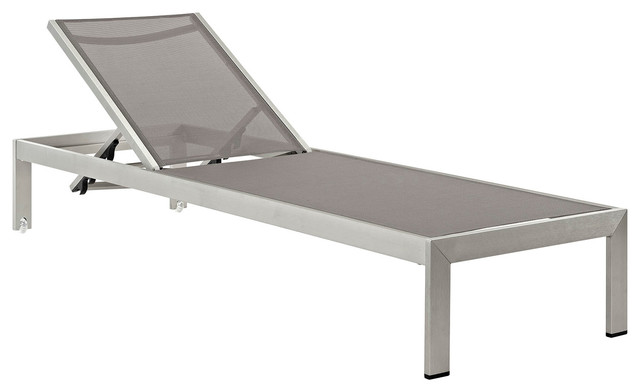 Shore Outdoor Chaise, Silver And Gray Contemporary Outdoor Chaise Lounges