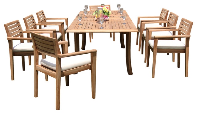 9-Piece Teak Dining Set, 94 Extension Rect Table, 8 Montana Stacking Chairs.