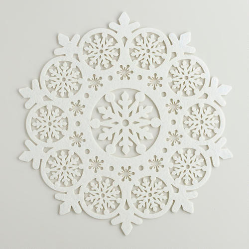 Ivory Felt Snowflake Placemats Contemporary Holiday