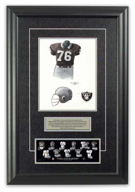 original art of the nfl 1976 oakland raiders uniform With kitchen cabinets lowes with oakland raiders wall art