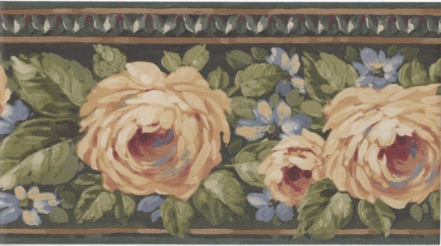 York Wallcoverings Green Gold Yellow Rose Floral Wallpaper