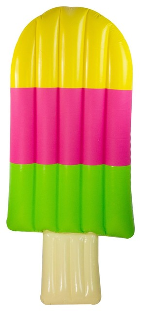 72 Yellow Pink And Green Inflatable Popsicle Shaped Swimming Pool Mattress.