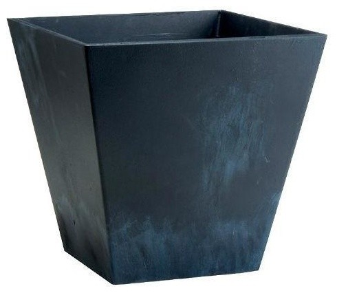 Contemporary 12 Inch Square Planter In Black Plastic Contemporary