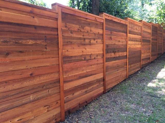 8'H Horizontal Cedar Privacy Fence w/Cap & Trim, stained - Traditional - Austin - by Austin ...