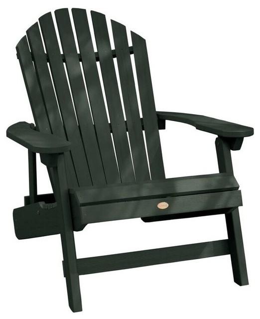 Chesapeake Folding And Reclining Adirondack Chair, Charleston Green.