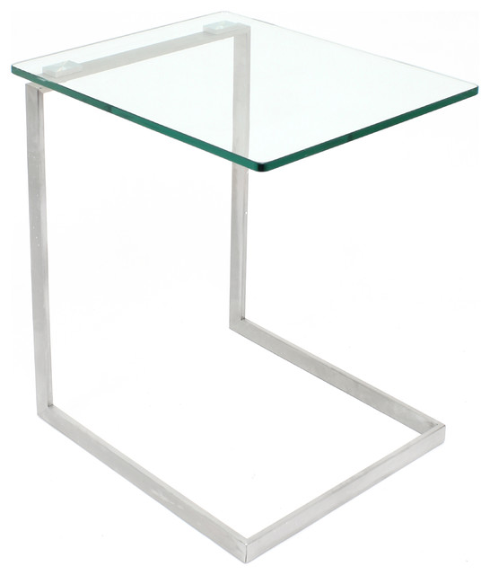 Zenn Glass End Contemporary Table, Glass.