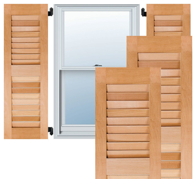 """15"""" x 57"""" Exterior Pine Louvered Shutters, Black - Traditional - Exterior Shutters - by Ekena ..."""