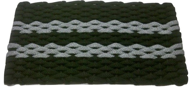 20x34 Rockport Rope Mat, Black With 2 Gray Stripes And Black Insert.