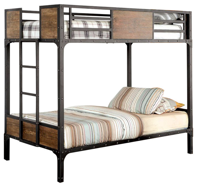 Twin Size Metal Bunk Bed With Unique Handmade Painting Finish