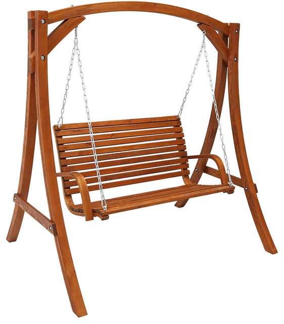 Sunnydaze Deluxe 2 Person Outdoor Wooden Patio Deck Yard Swing With Stand