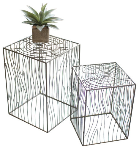 Set of Two Woodgrain Wire Side Tables - Coffee Table Sets - by ...