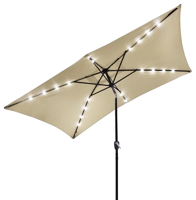 10x6.5 ' 20 Leds 6 Ribs Patio Solar Led Umbrella Tilt, Beige