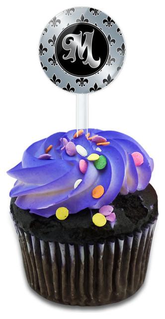 Letter M On Fleur De Lis Pattern Cupcake Toppers Picks Set.