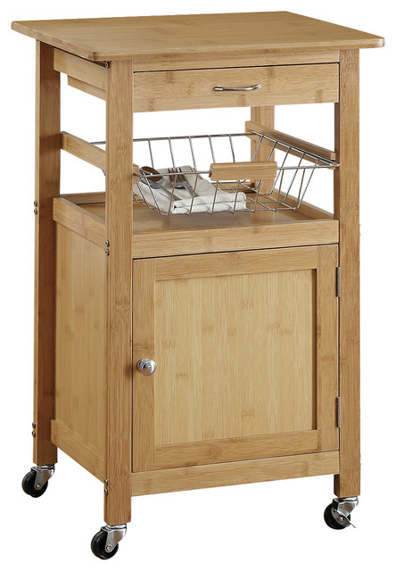 Bamboo Kitchen Cart With Basket.