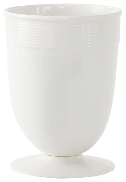 Banded Ceramic Vase In White Contemporary Vases