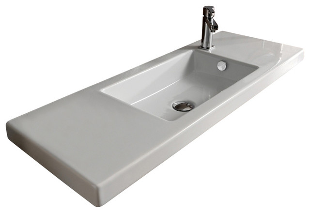 Rectangular White Ceramic Wall Mounted, Or Built-In Sink, One Hole.
