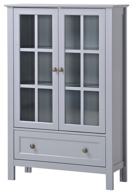 Homestar 2 Door/ 1 Drawer Glass Cabinet - Modern - Pantry And Cabinet Organizers - by HOMESTAR ...