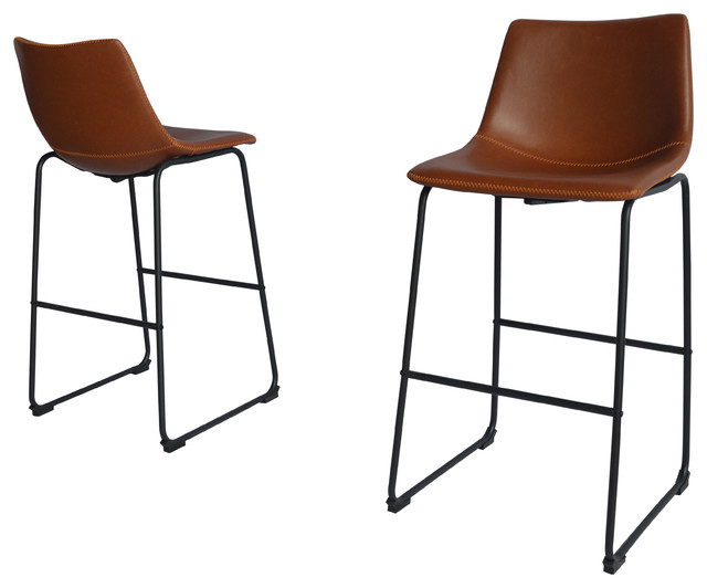 Amazing Modern Faux Leather Chair Set Of 2 Bronze 29 Bar Height Pdpeps Interior Chair Design Pdpepsorg